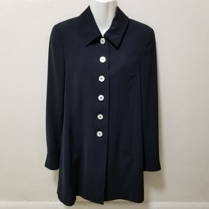 MaxMara Coat Jacket Black Button Front Mid-Length